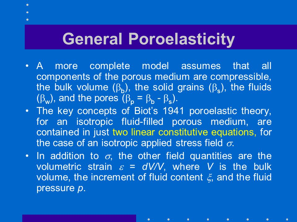 General Poroelasticity