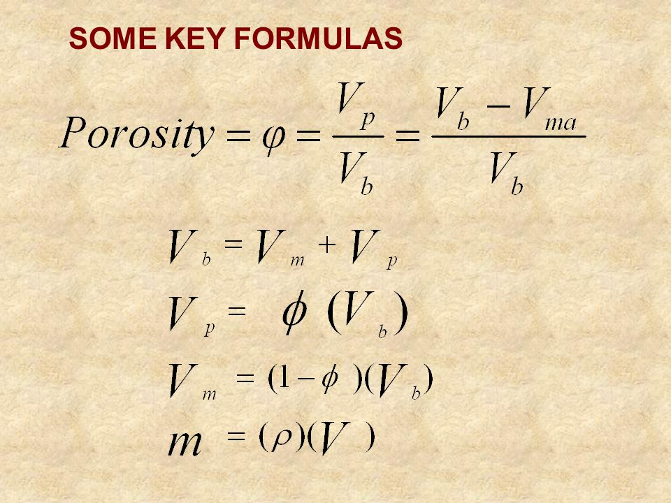 SOME KEY FORMULAS