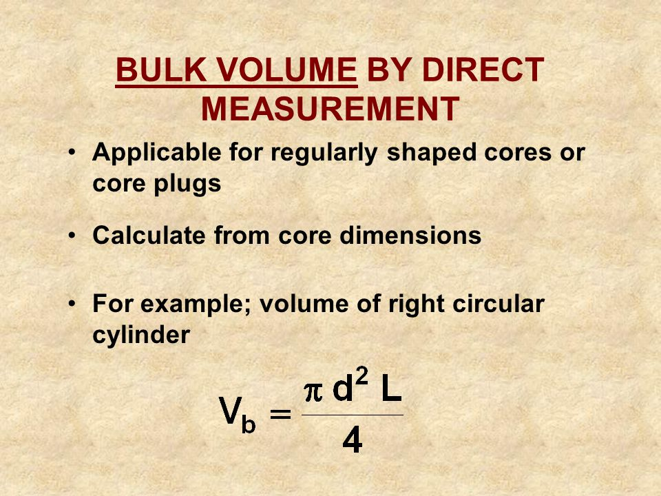 BULK VOLUME BY DIRECT MEASUREMENT