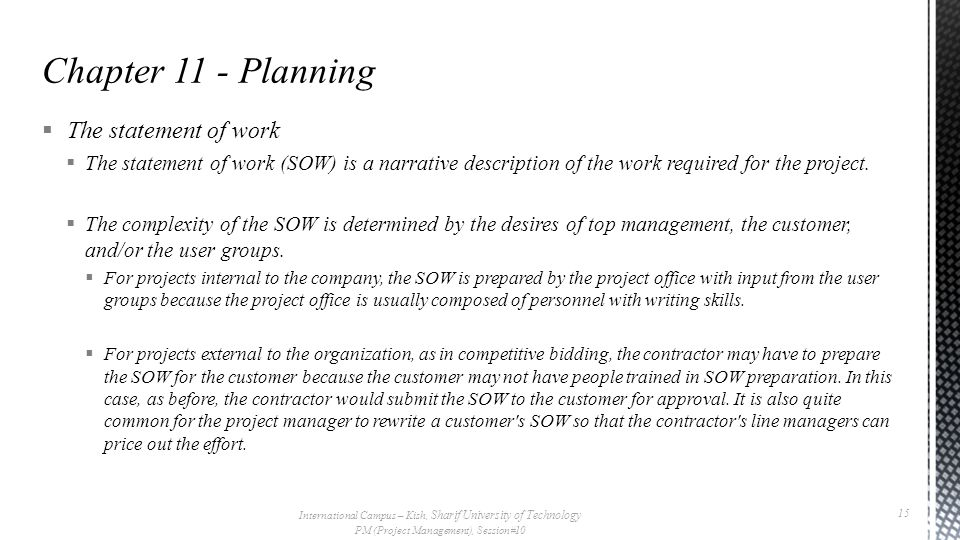 Chapter 11 - Planning The statement of work