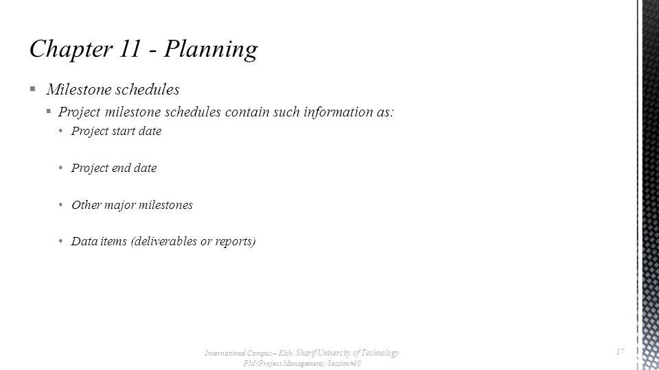 Chapter 11 - Planning Milestone schedules