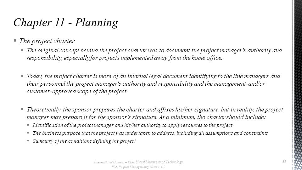 Chapter 11 - Planning The project charter