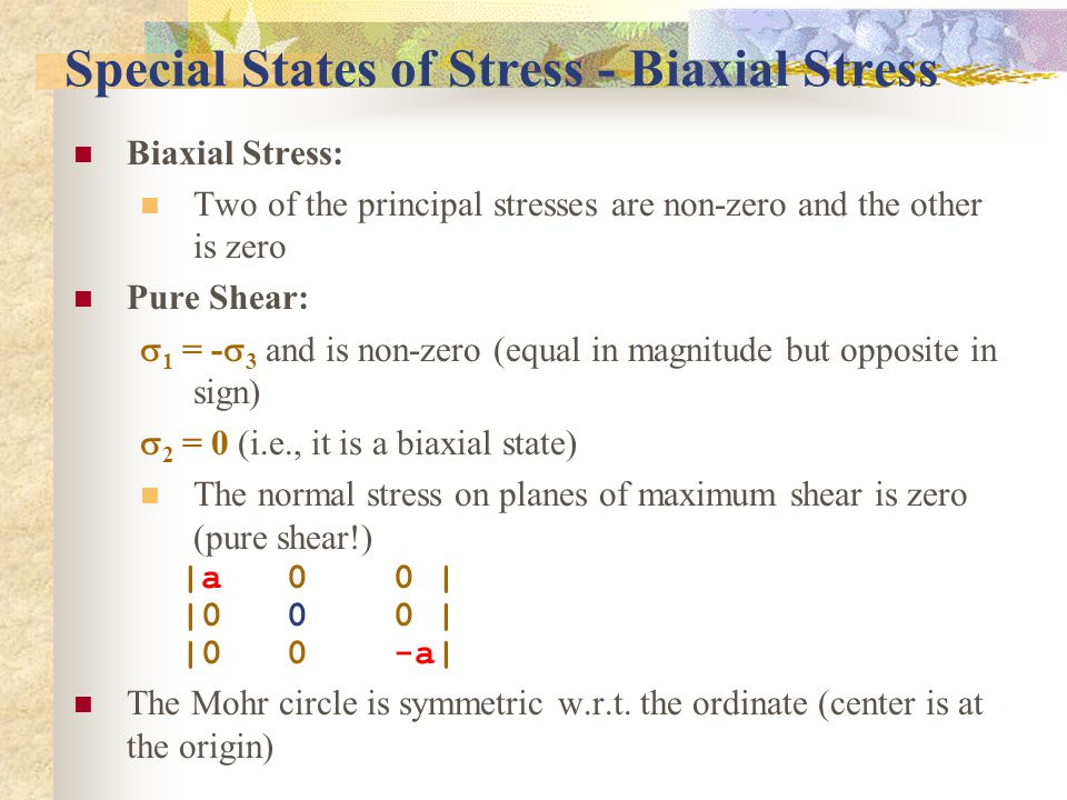 Special States of Stress - Biaxial Stress