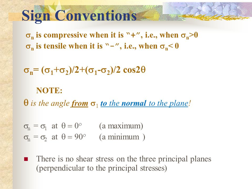 Sign Conventions sn= (s1+s2)/2+(s1-s2)/2 cos2q