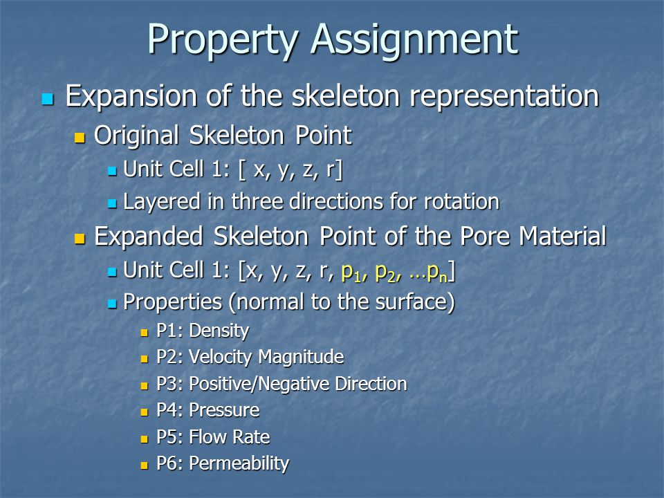 Property Assignment Expansion of the skeleton representation