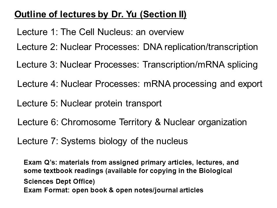 Outline of lectures by Dr. Yu (Section II)