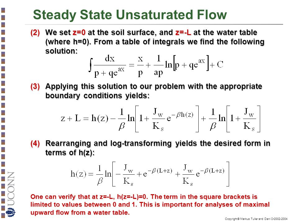 Steady State Unsaturated Flow