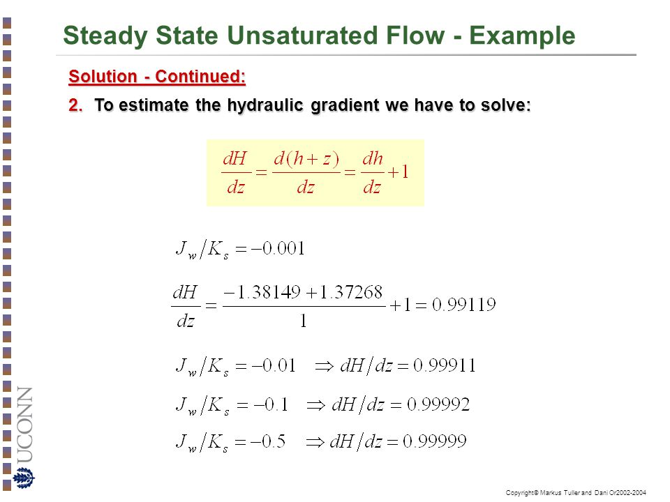 Steady State Unsaturated Flow - Example