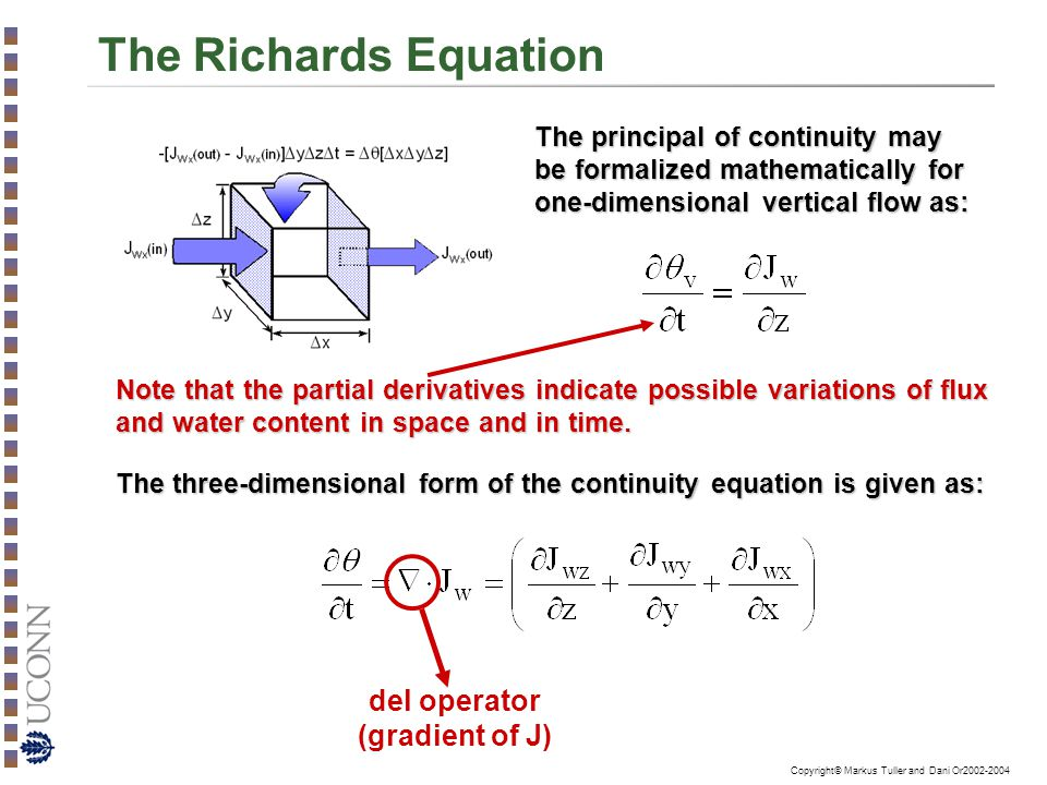 The Richards Equation del operator (gradient of J)