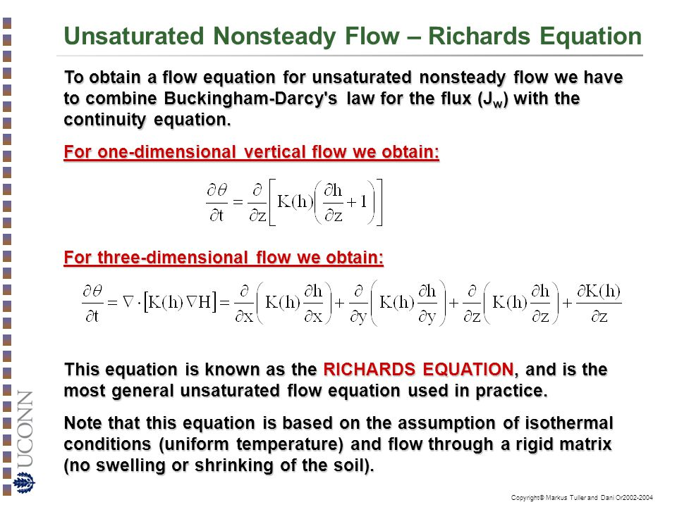 Unsaturated Nonsteady Flow – Richards Equation