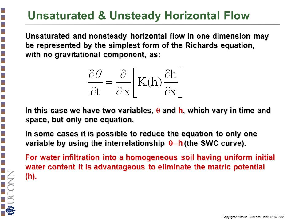Unsaturated & Unsteady Horizontal Flow