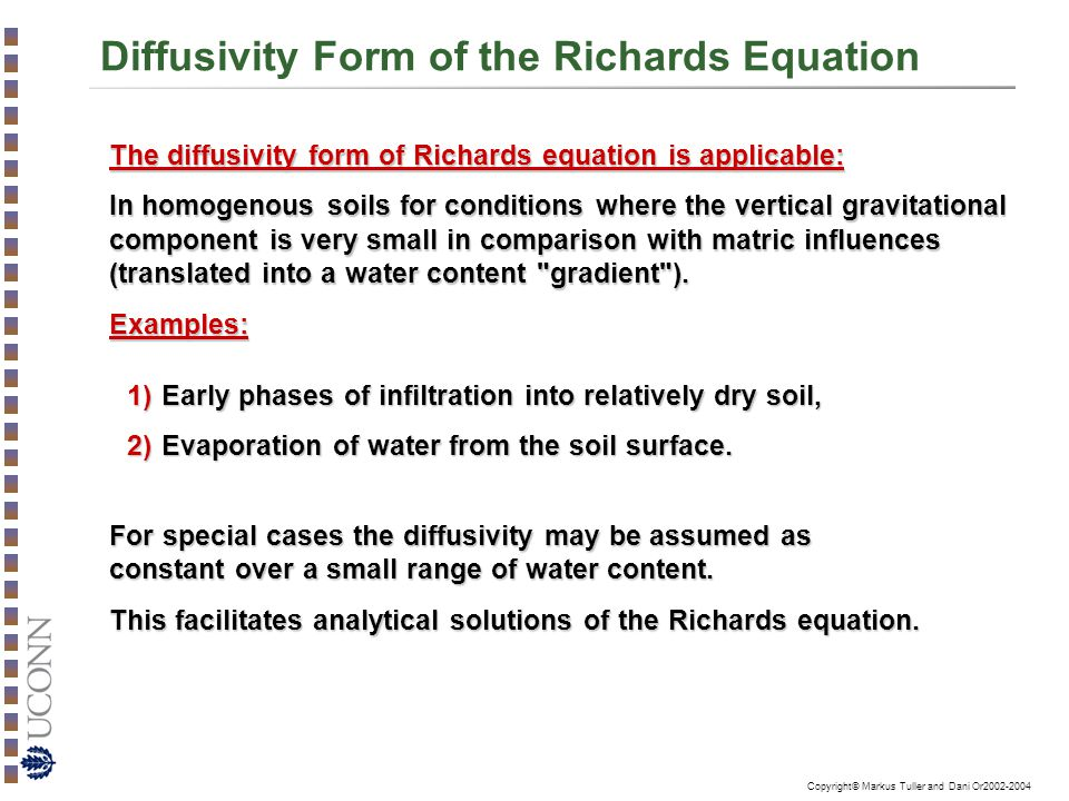 Diffusivity Form of the Richards Equation