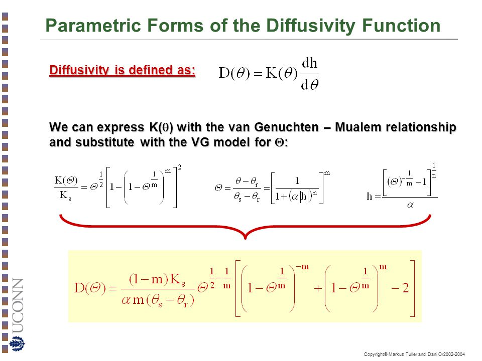 Parametric Forms of the Diffusivity Function