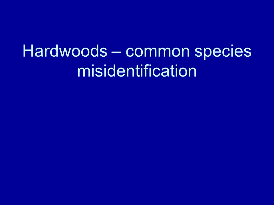 Hardwoods – common species misidentification