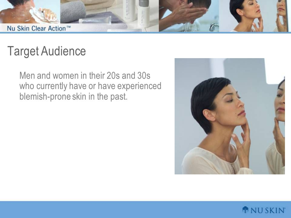 Target Audience Men and women in their 20s and 30s who currently have or have experienced blemish-prone skin in the past.
