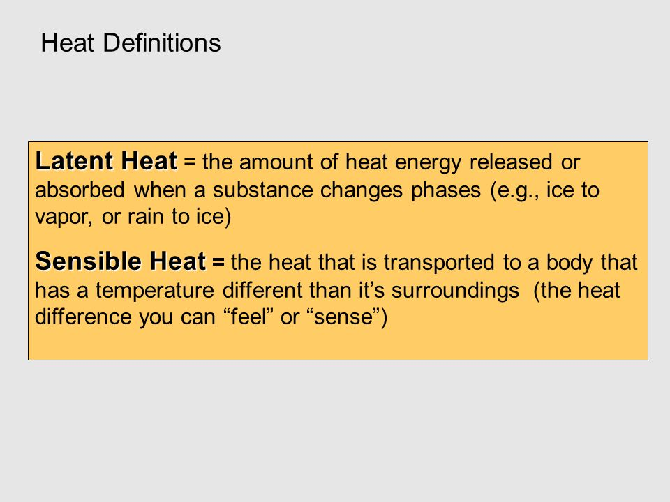 Heat Definitions Latent Heat = the amount of heat energy released or absorbed when a substance changes phases (e.g., ice to vapor, or rain to ice)