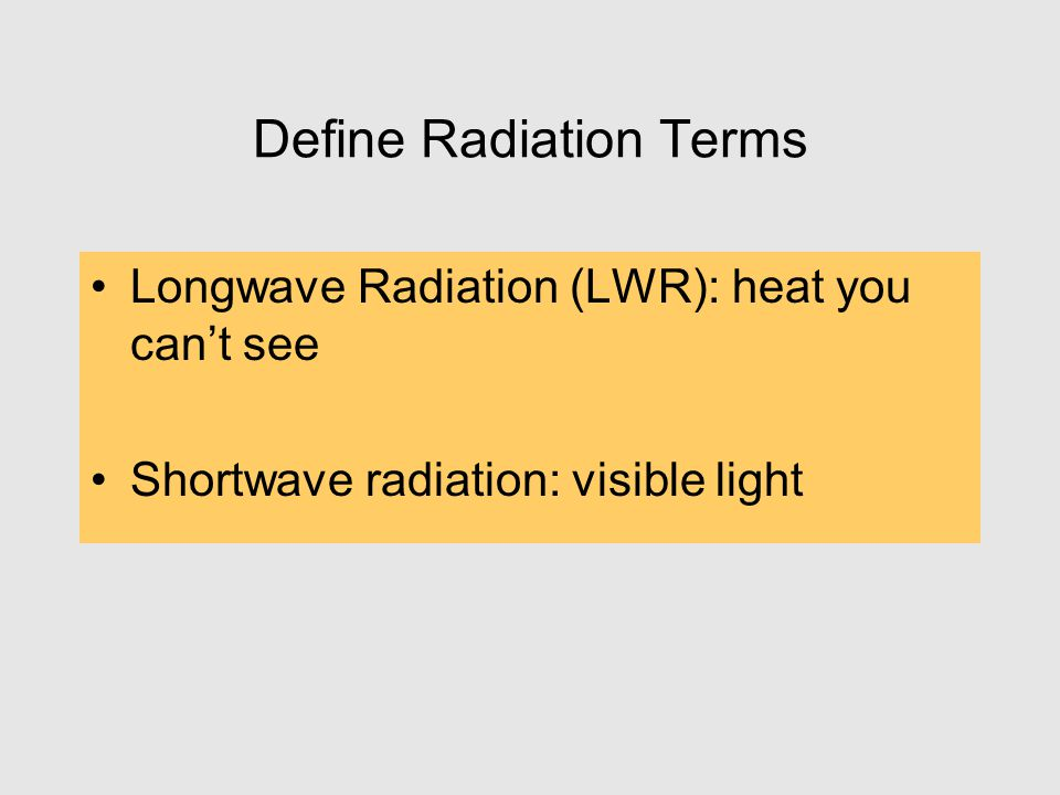 Define Radiation Terms