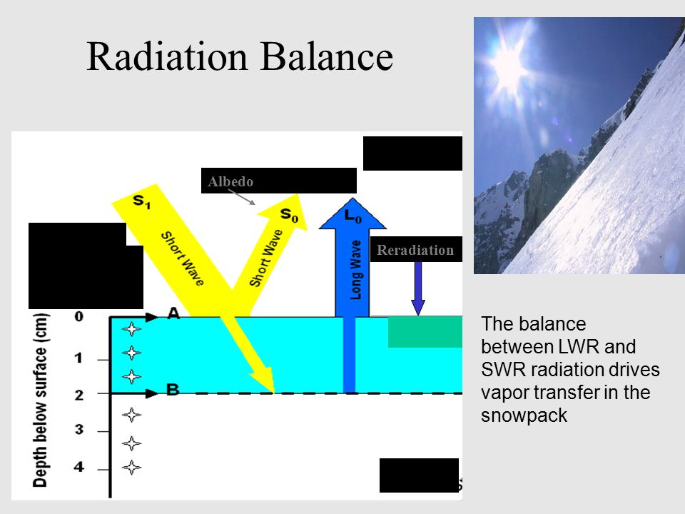 Radiation Balance Reradiation. Albedo. The balance between LWR and SWR radiation drives vapor transfer in the snowpack.