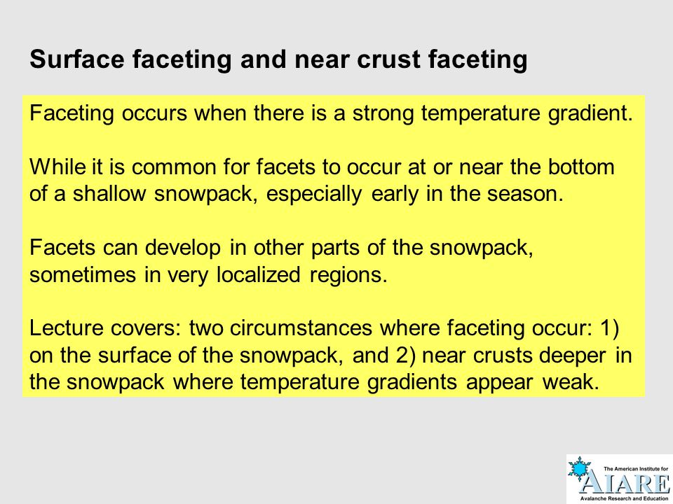Surface faceting and near crust faceting