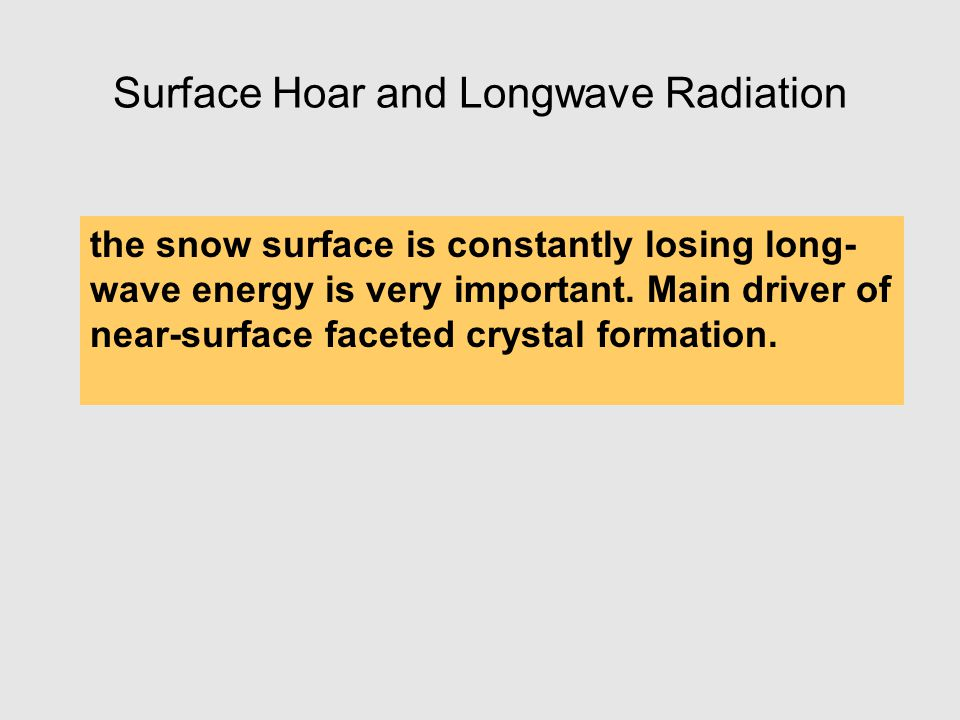 Surface Hoar and Longwave Radiation