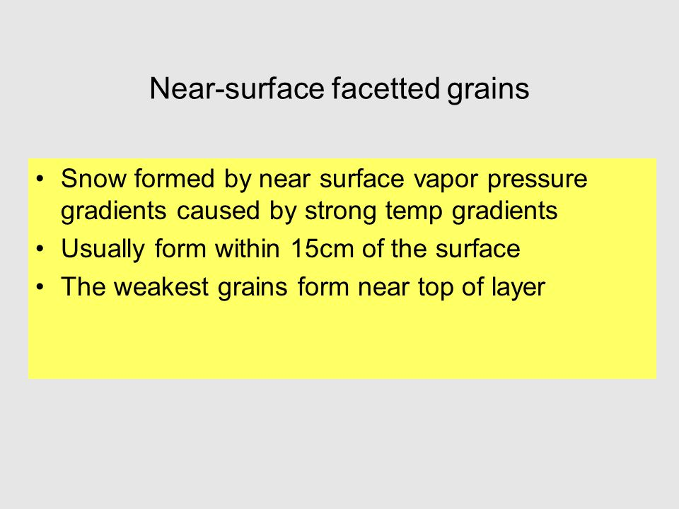 Near-surface facetted grains