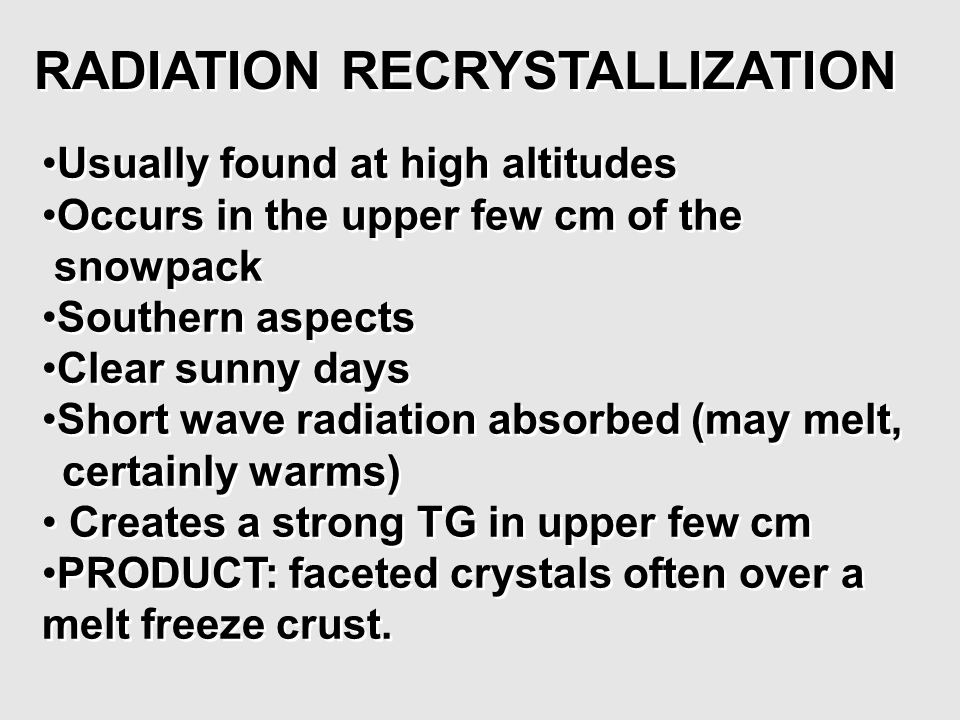 RADIATION RECRYSTALLIZATION