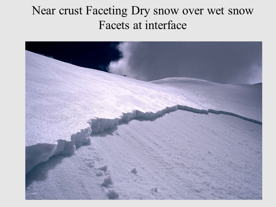 Near crust Faceting Dry snow over wet snow Facets at interface