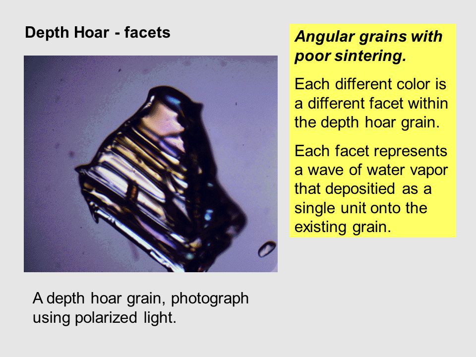 Depth Hoar - facets Angular grains with poor sintering. Each different color is a different facet within the depth hoar grain.