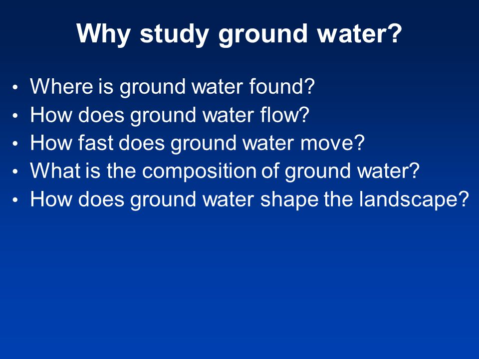 Why study ground water Where is ground water found