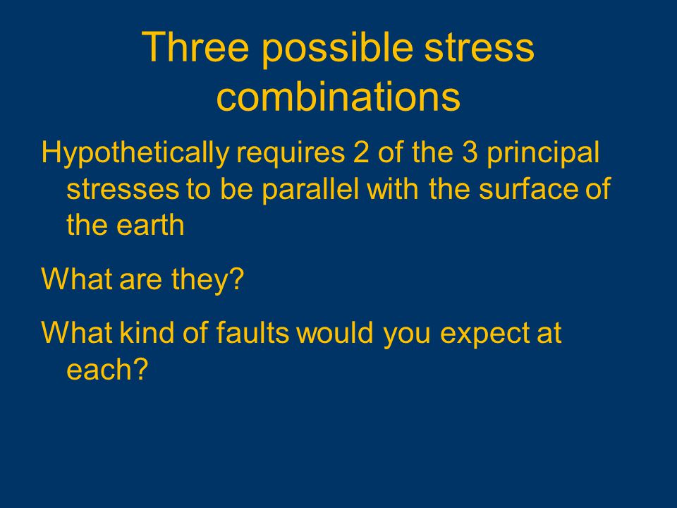 Three possible stress combinations