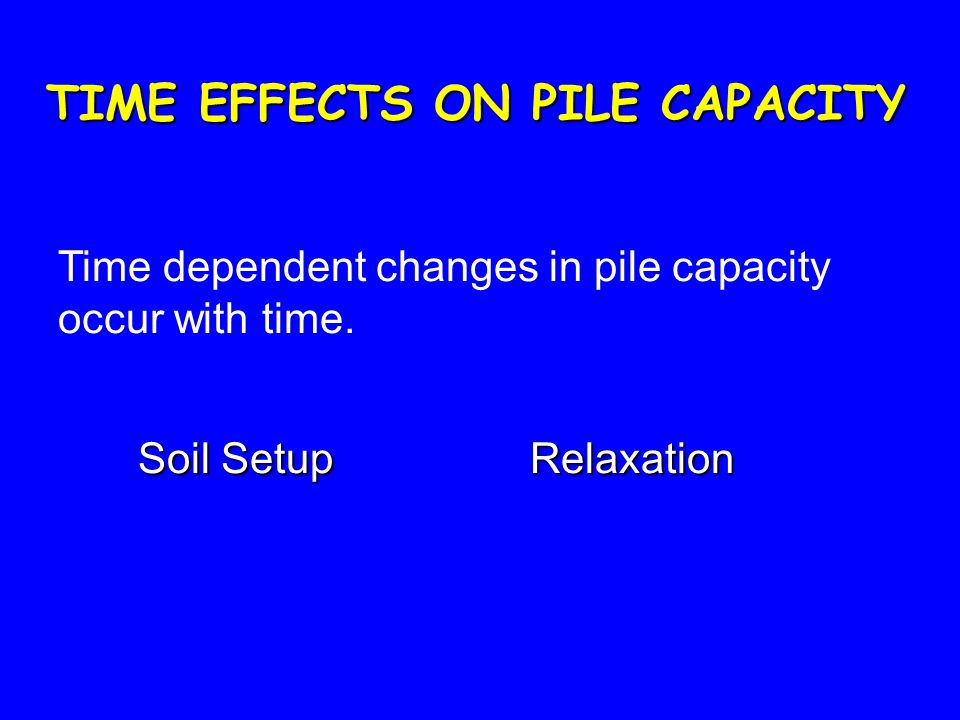 TIME EFFECTS ON PILE CAPACITY