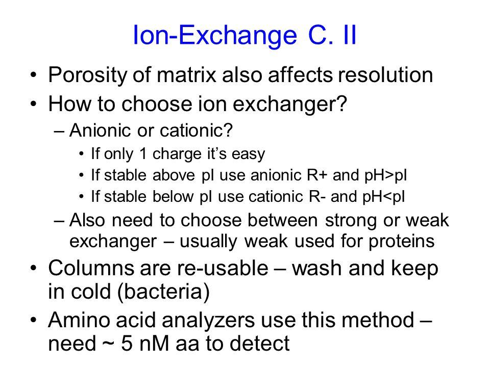 Ion-Exchange C. II Porosity of matrix also affects resolution