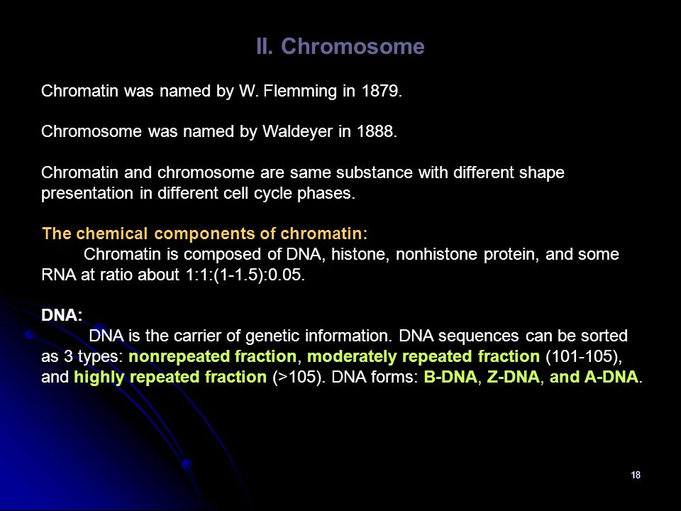 II. Chromosome Chromatin was named by W. Flemming in 1879.