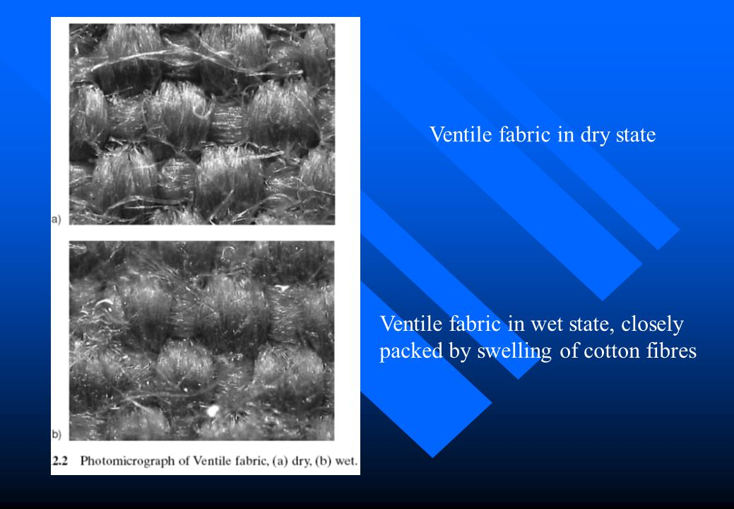 Ventile fabric in dry state