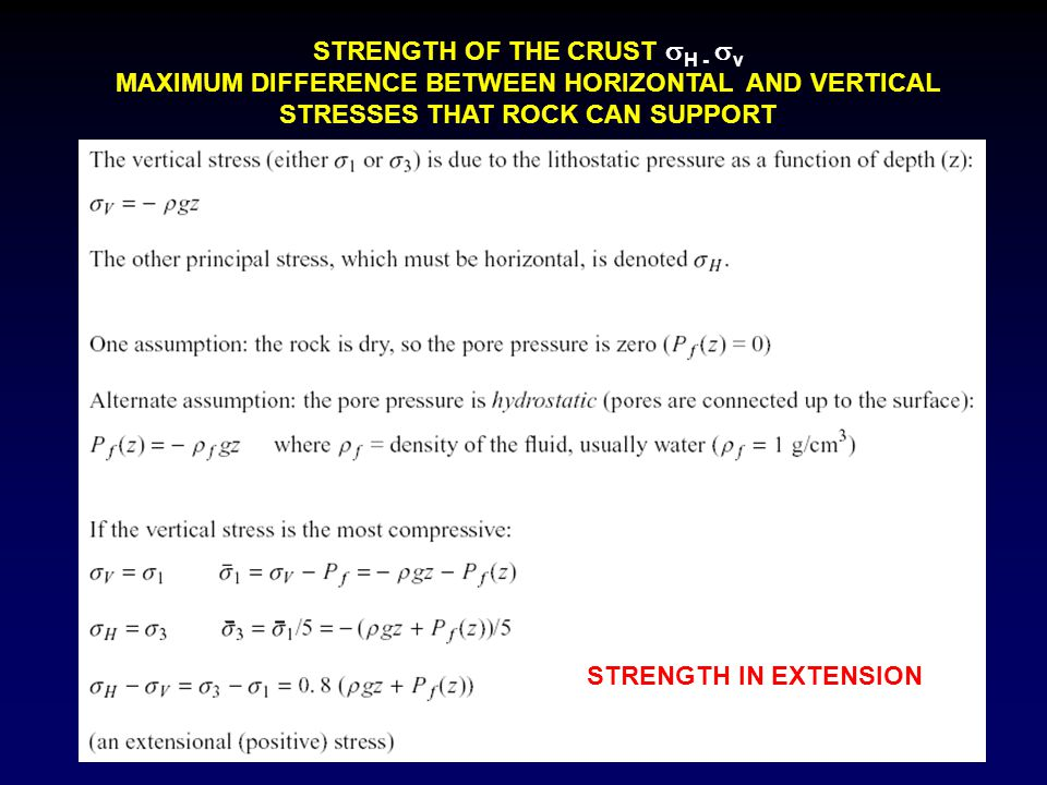 STRENGTH OF THE CRUST H - v
