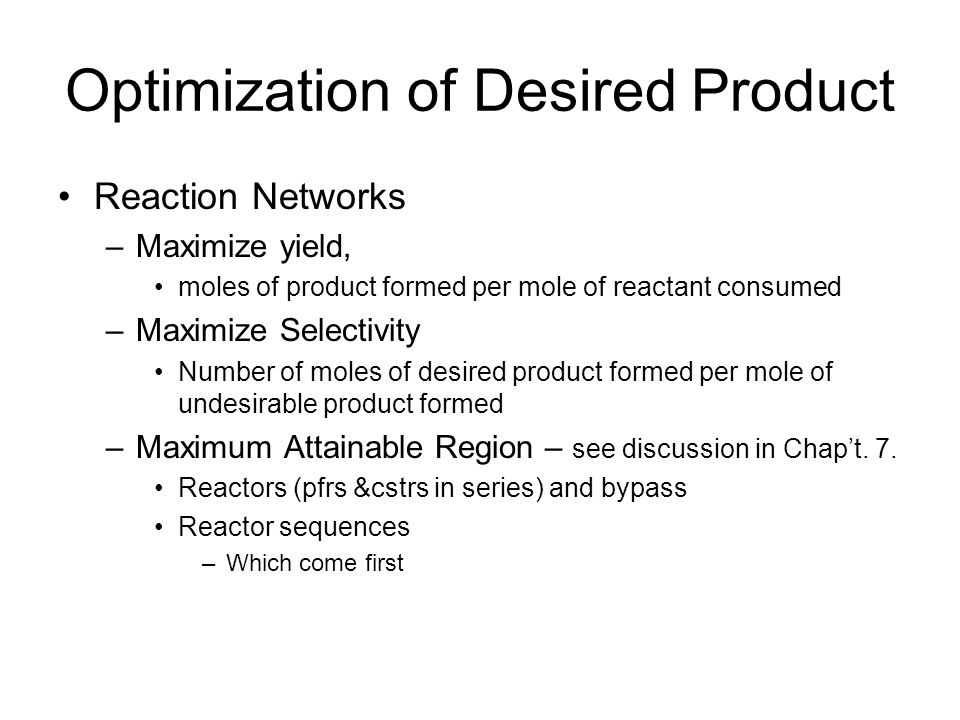 Optimization of Desired Product