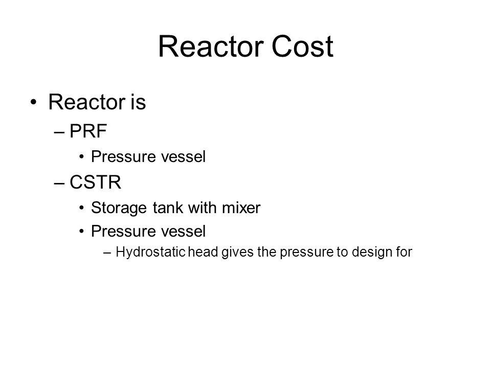 Reactor Cost Reactor is PRF CSTR Pressure vessel