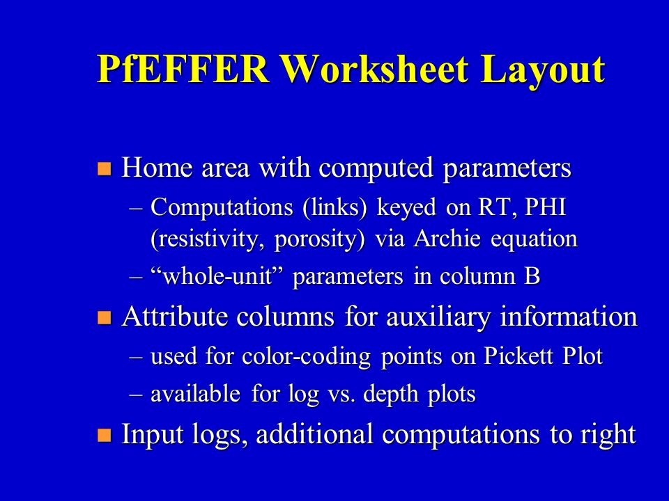 PfEFFER Worksheet Layout