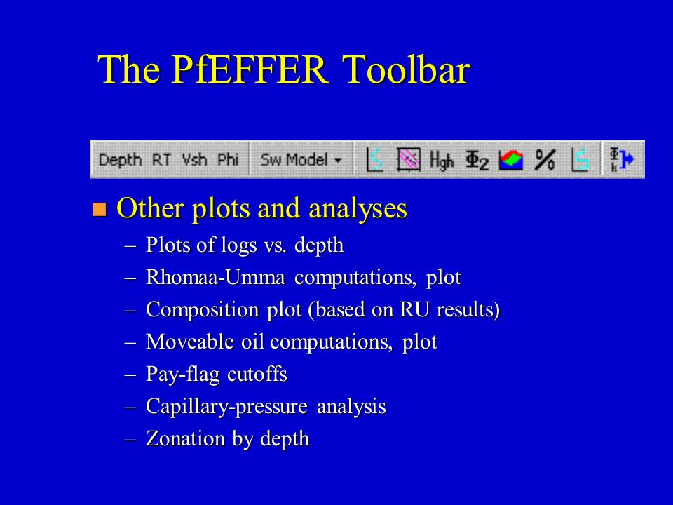 The PfEFFER Toolbar Other plots and analyses Plots of logs vs. depth