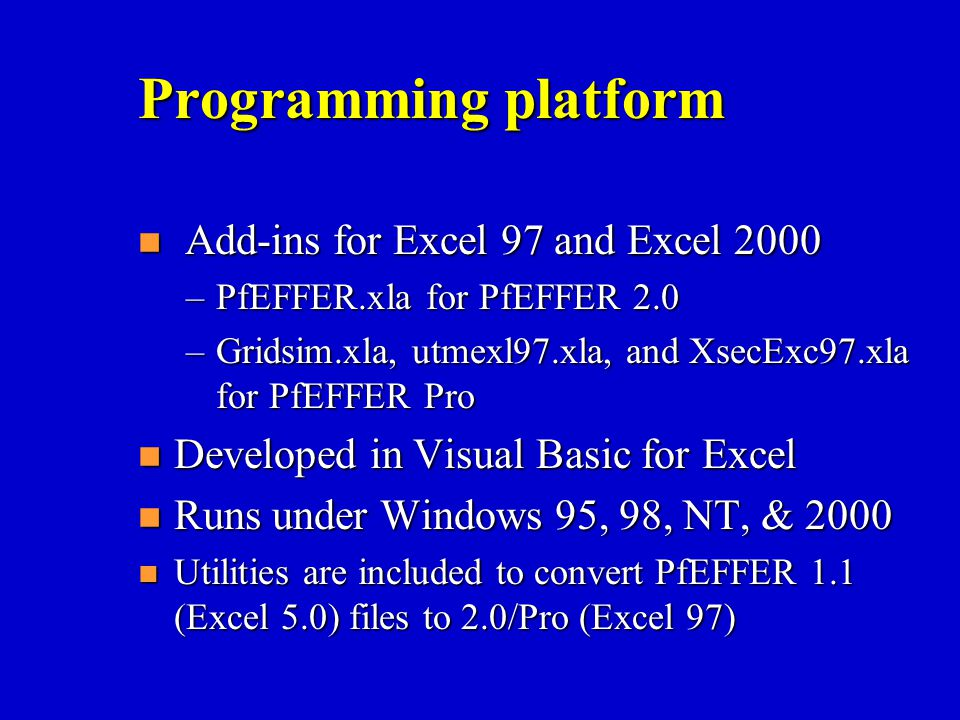 Programming platform Add-ins for Excel 97 and Excel 2000