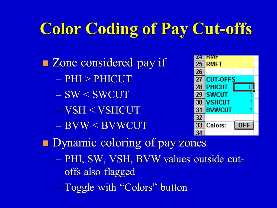 Color Coding of Pay Cut-offs