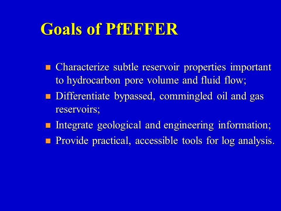 Goals of PfEFFER Characterize subtle reservoir properties important to hydrocarbon pore volume and fluid flow;