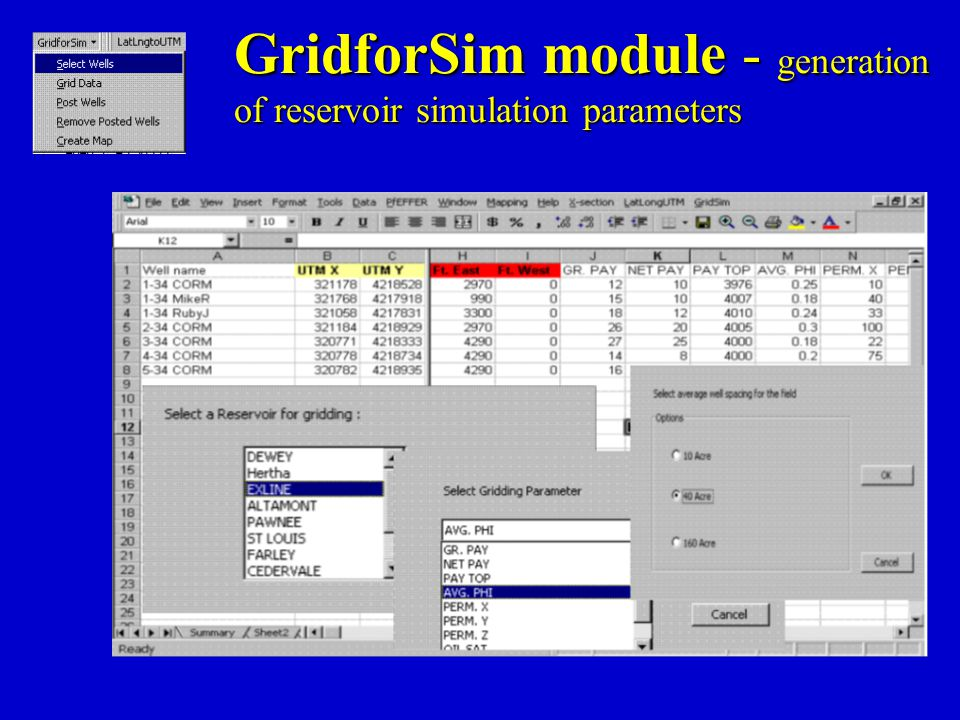 GridforSim module - generation of reservoir simulation parameters