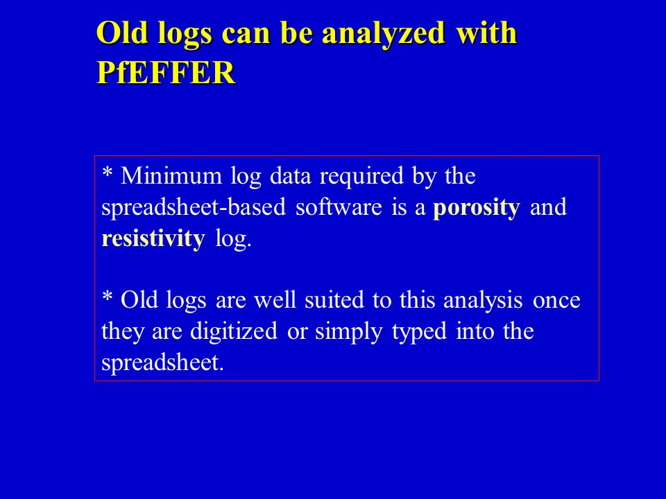 Old logs can be analyzed with PfEFFER