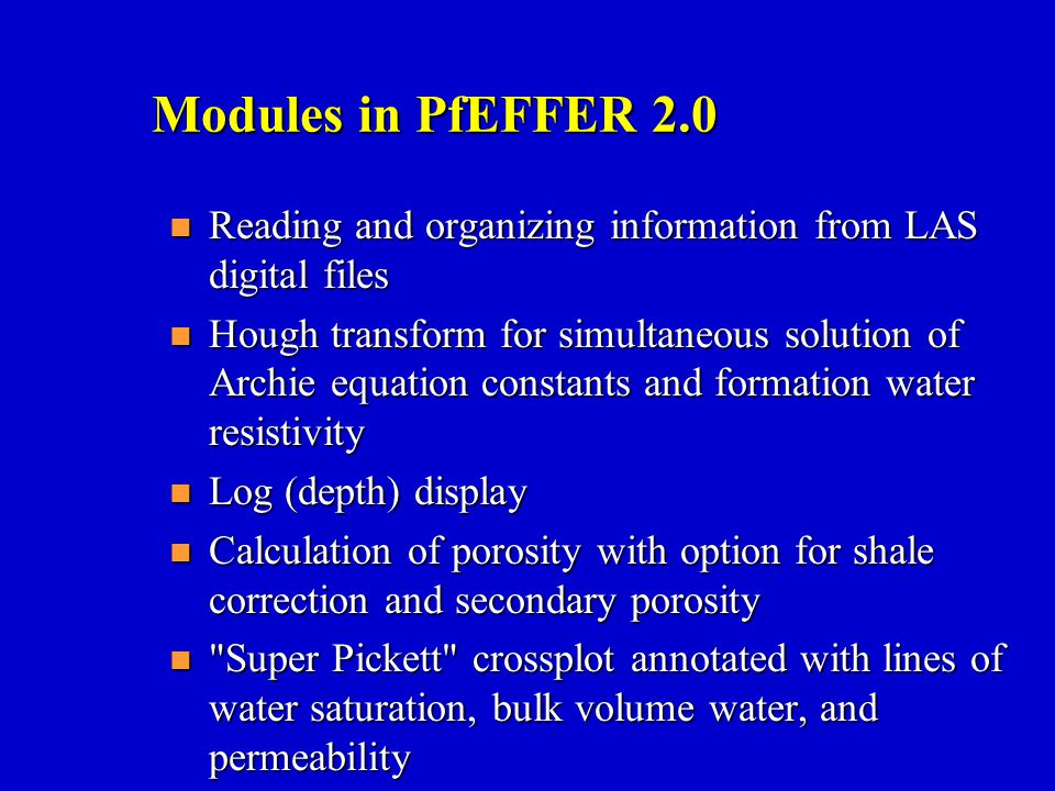 Modules in PfEFFER 2.0 Reading and organizing information from LAS digital files.