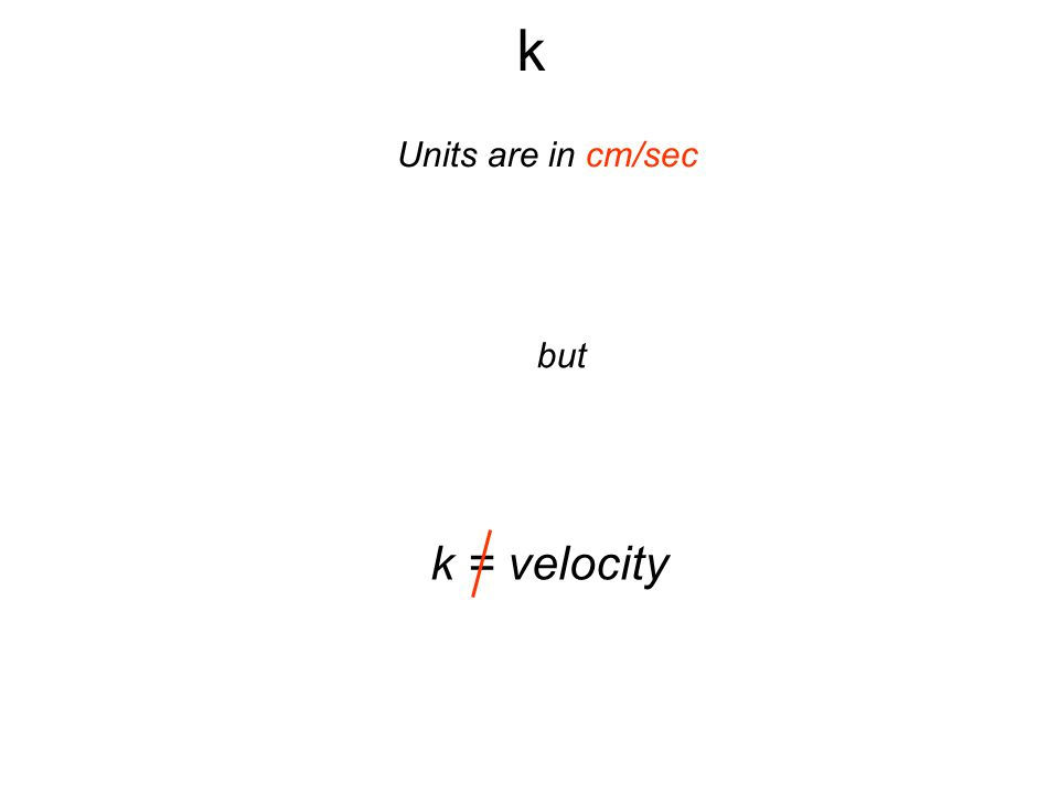 k Units are in cm/sec but k = velocity