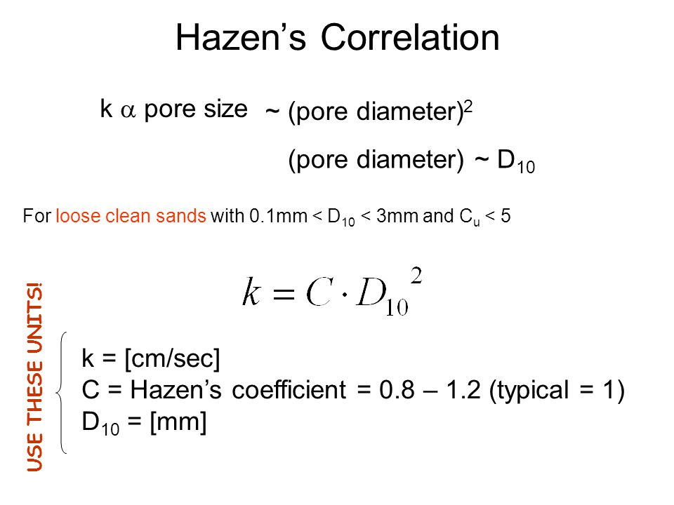 Hazen's Correlation k a pore size ~ (pore diameter)2
