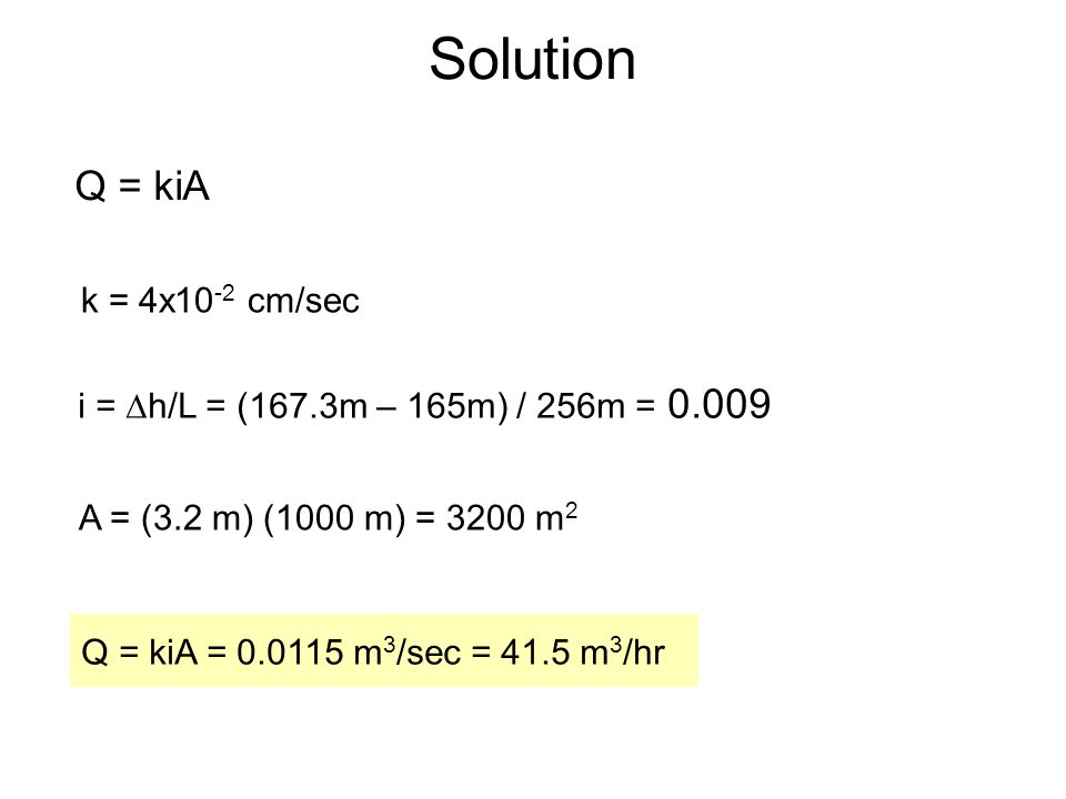 Solution Q = kiA k = 4x10-2 cm/sec