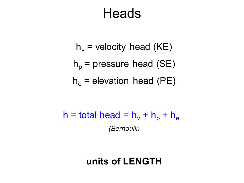 Heads hv = velocity head (KE) hp = pressure head (SE)