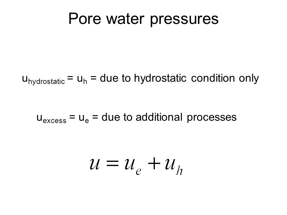 Pore water pressures uhydrostatic = uh = due to hydrostatic condition only.